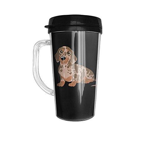 Miniature Dachshund - Dapple Stainless Steel Traveler Coffee Mug Tumblers 16 Oz With Handle -