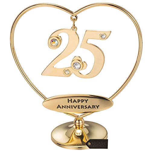 25th Anniversary Hearts - Matashi 24K Gold Plated Beautiful Heart Happy Birthday or Happy Table Top Ornament Made with Genuine Crystals (25th Happy Anniversary, Gold Plated)
