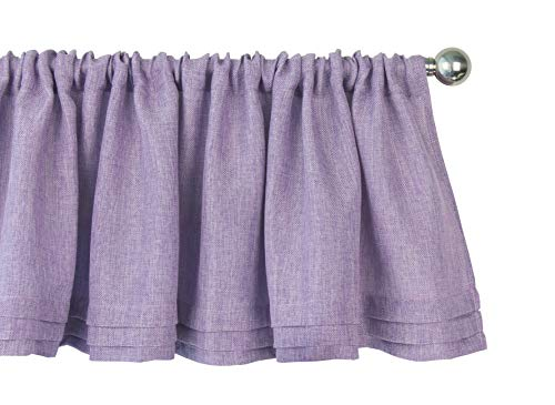 Aiking Home Semi-Sheer Faux Linen Pleated Valance 56 by 14 Inches, Lavender (Lilac Valance Curtains)