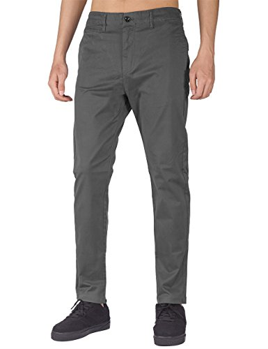 THE AWOKEN Mens Business Casual Pants Chino Trousers Straight Styles Black (Dark Grey, S)