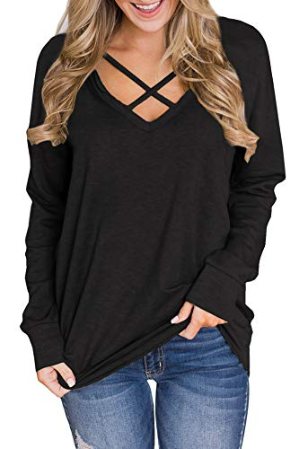 6fe646b8ee2 Womens Casual Cotton Long Sleeve Sweatshirt V Neck Criss Cross Tunic Tops  Black XL