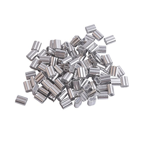 Accessbuy 1/16 Inch Aluminum Sleeves Clip for Wire Rope, 100-Pack Poly Rope Cable