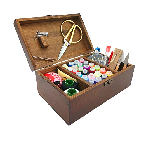 VILONG Wooden Sewing Basket Sewing Box Accessories Kit, DIY Sewing Supplies Organizer Filled with Scissors, Thimble, Thread, Sewing Needles, Tape Measure