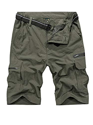 Men's Outdoor Tactical Shorts Lightweight Expandable Waist Cargo Shorts with Multi Pockets Quick Dry Water Resistant #6222,Army Green,US 29 (Tag M) (29 Green)