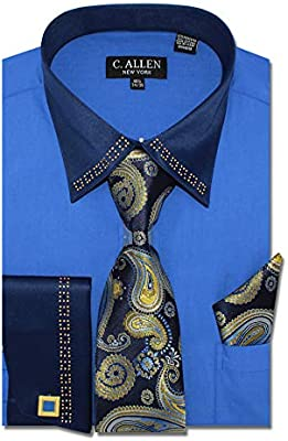 Men/'s Regular Fit French Cuffs Jewelry on Satin Collar Metal Fabrication Dress Shirts with Tie Hanky Cufflinks Combo