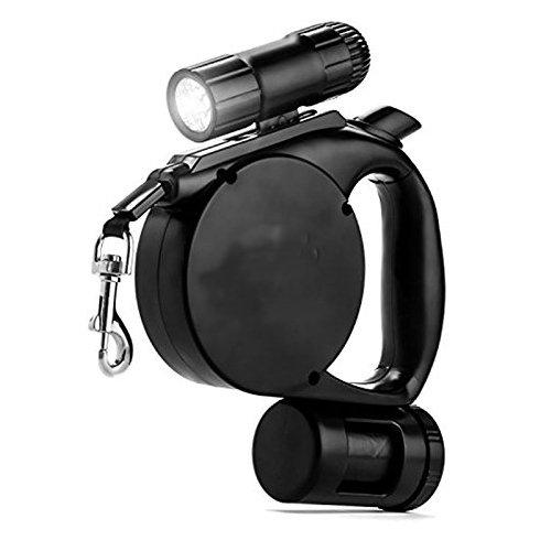 Amazon.com : Simple Pet Xtreme Accessories Retractable Leash w Flash Light & Bag Dispenser -Black : Pet Supplies