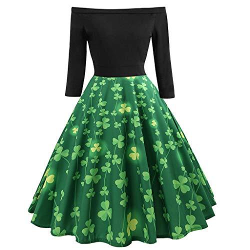 Kids Ringer T-shirt Fish (Sunhusing Women Off-Shoulder Clover Print Solid Color Half Sleeve Vintage Big Swing Pleated Dress)