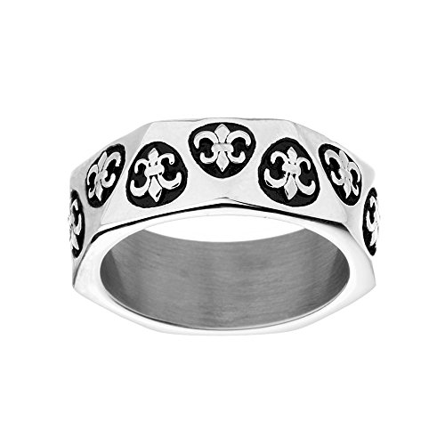 WILLOWBIRD Oxidized Stainless Steel Fleur De Lis Eternity Wedding Band Ring for Men (Size 9) - Fleur De Lis Wedding Rings