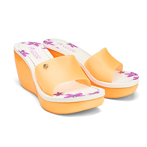 Chemistry® Kay Donna Nuova Elegante Slip-on Jelly Zeppa Platform Sandal Orange