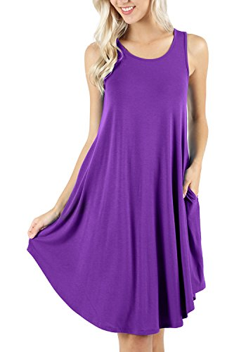 (peassa Womens Summer Flowy Beach T Shirt Tank Plain Dress with Pockets Purple XL)