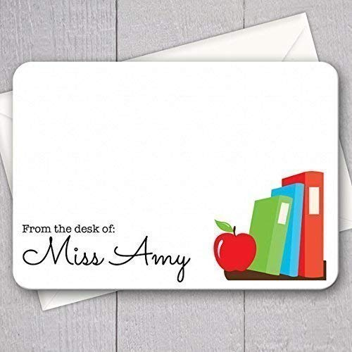 Note Personalized Teacher (Teacher Note Cards - 12pk, Personalized Flat Note Cards, Teacher Gifts, Printed with Envelopes (NC-002))