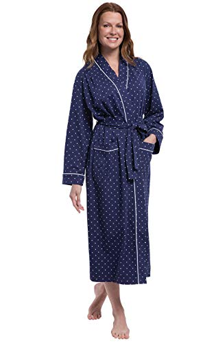 Cotton Knit Wrap Robe - PajamaGram Womens Robe Knit Cotton - Womens Bathrobe, Navy, 2X (22W-24W)