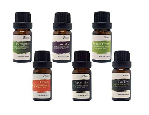 Pursonic 100 % Pure essentielle aromathérapie Huiles Gift Set-6 Pack, 10ML (Eucalyptus, lavande, Lemon grass, Orange, menthe poivrée, Tea Tree)