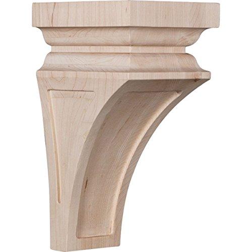 Ekena Millwork CORW05X05X10NERW-CASE-6 5 inch W x 5 3/4 inch D x 10 inch H Medium Nevio Wood Corbel, Rubberwood (6-Pack), by Ekena Millwork