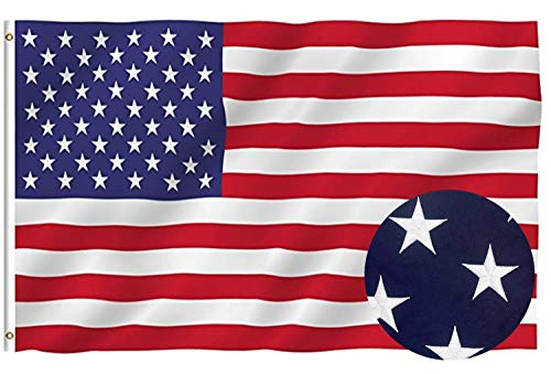 Lecoolife American Flag 3x5 ft, Long Lasting Durable 100% Polyester Flag Built for Outdoor Use - Embroidered Stars, Sewn Stripes and Brass Grommets Strengthened by Double Stitching U.S. Flags