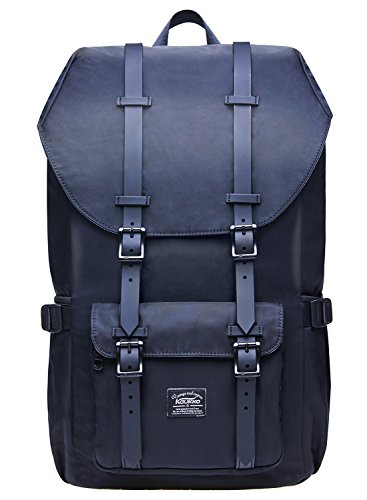 "Laptop Outdoor Backpack, Travel Hiking& Camping Rucksack Pack, Casual Large College School Daypack, Shoulder Book Bags Back Fits 15"" Laptop & Tablets by Kaukko (2Nylon Black)"