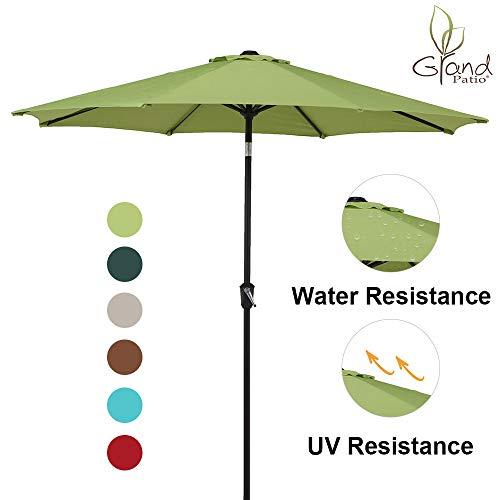 Grand Patio 9 FT Enhanced Aluminum Patio Umbrella, UV Protected Outdoor Umbrella with Auto Crank and Push Button Tilt, Lime Green