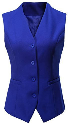Vocni Women's Fully Lined 29 Button V-Neck Economy Dressy Suit Vest Waistcoat,Light Blue,US 16/Tag 4XL by Vocni