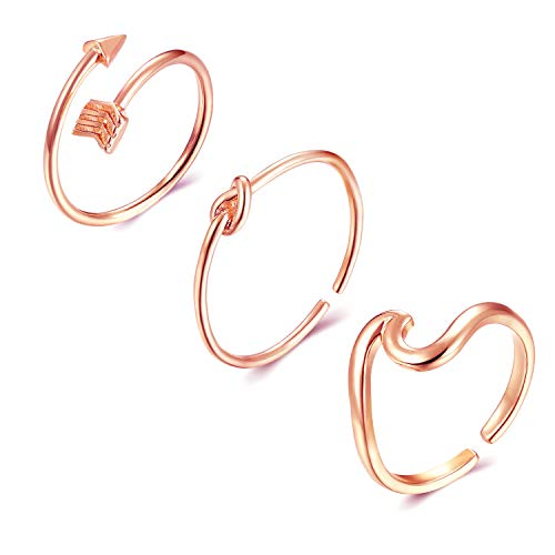 - Long tiantian 3 Pcs Simple Adjustable Rings Set for Women,Love Knot Arrow Wave Ring Sets for Teen Girls Size 6-9 (B:3SET-RG)
