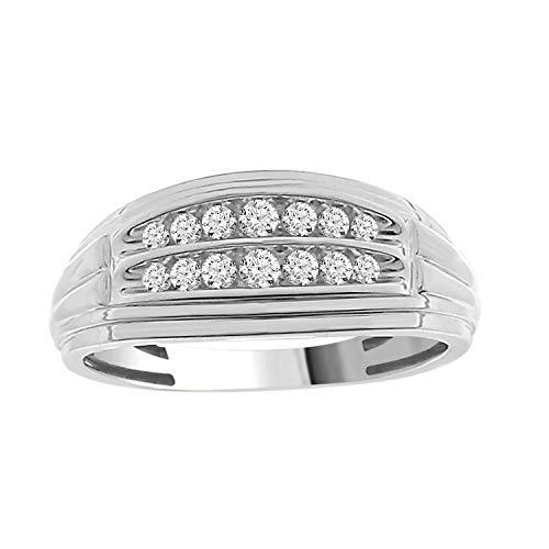 Eternal Bliss Solid 10K Gold 1/4 cttw Round Natural Diamond Men's Wedding Band Ring (White-Gold, ()