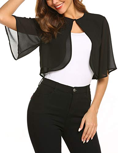 - Teewanna Junior's Sheer Chiffon Bolero Shrug Jacket Cardigan Short Sleeve, Black, L