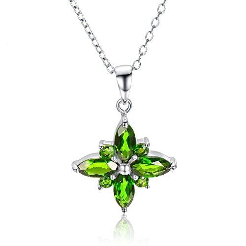 Hutang Or blanc 18ct 1.16CT Naturel Chrome Diopside romantique Pendentif et collier pierre précieuse fine bijoux pour femme