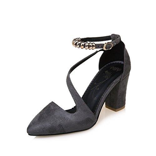 Comfort Gris Chaussures Femmes 5 CN35 Gris Noir de Chaussures pour Bureau Talon US5 Printemps Rouge Fleece l'extérieur UK3 DIMAOL 5 et pour Heels EU36 de Automne L'emploi RYEqxzw