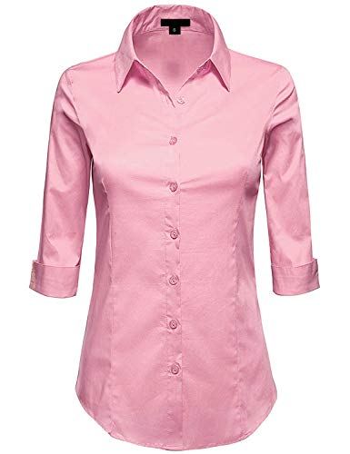 MAYSIX APPAREL Plus Size 3/4 Sleeve Stretchy Button Down Collar Office Formal Shirt Blouse for Women BABYPINK 3XL