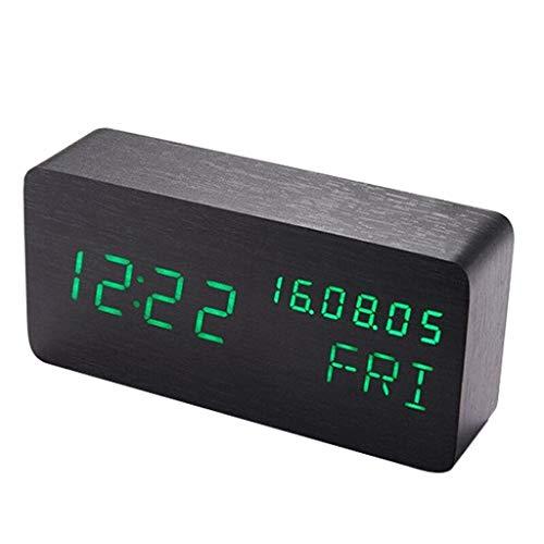 Reloj despertador Pesado Durmientes Dormitorio Niños Relojes de escritorio Atenuación Pantalla digital Temperatura Fecha Funcionamiento con