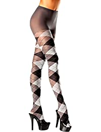 BW687GY Women's Gray And Black Argyle Pantyhose