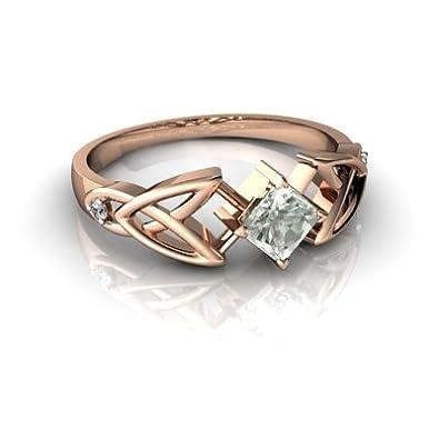 Amazon.com: 14 kt oro amatista verde y diamantes 4 mm ...