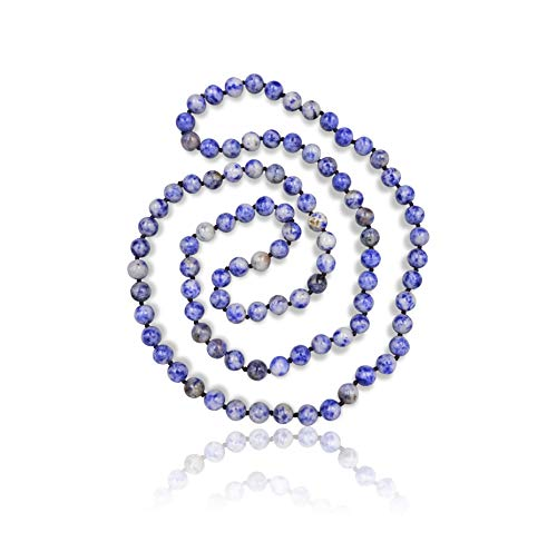 MGR MY GEMS ROCK! 36 Inch 8MM Polished Genuine Sodalite Stone Endless Infinity Long Beaded Strand Necklace.