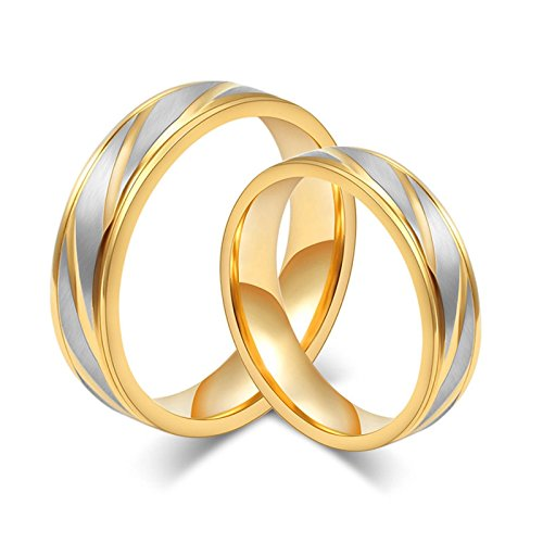 His Hers Wedding Rings Gold Stainless Steel Ring Engagement Two-Tone Brush Women Size 9 & Men Size 9