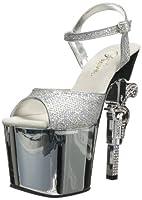Pleaser Women's Revolver-709G Platform Sandal,Silver Multi Glitter/Silver Chrome,11 M US