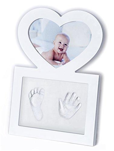 Click & Clay - Cornice Portafoto a Forma di Cuore con Kit per Impronte Manina e Piedino Neonato, Idea Regalo Battesimo, Bianca
