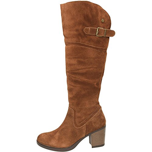 Carmela Brown Suede Boots Block Leather Knee Heeled 0H0FgzO