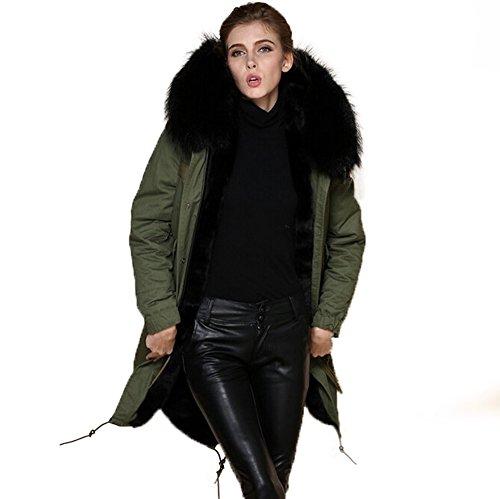 Parka XXL cuello de auténtica piel 100% pelo auténtico chaqueta abrigo caqui, en 8colores Schwarzer Pelz