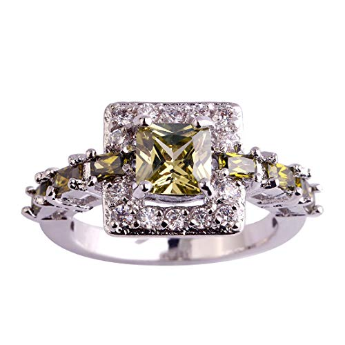 Humasol 925 Sterling Silver Filled Asscher Cut Lab-Created Peridot Promise Band Engagement Ring for Women ()