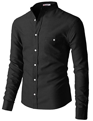 H2H Mens Casual Band Collar Button Down Oxford Long Sleeve Shirts Black US 3XL/Asia 4XL (KMTSTL0552)