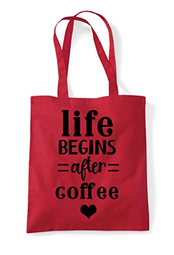 Statement Red Tote Shopper Coffee After Bag Life Begins RwWqcSnxf