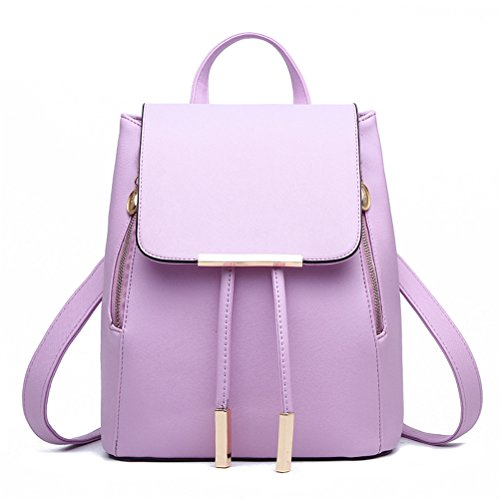 Candy Backpack School Donalworld Closure Leather Violet Bag Black PU Zipper Double Women Travel 5Cqxxw1O