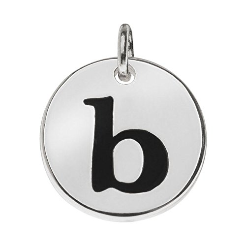 Beadaholique Lead-Free Pewter, Round Alphabet Charm Lowercase Letter 'b' 13mm, 1 Piece, Silver Plated ()