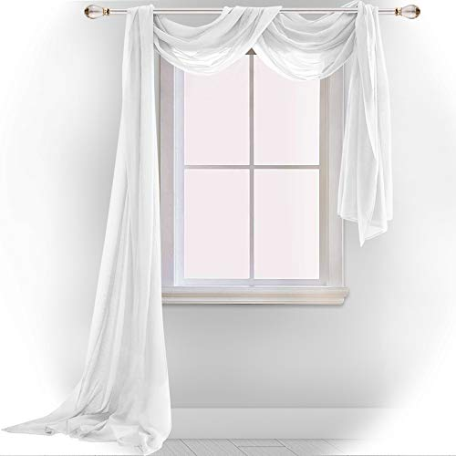 DONREN White Window Scarf Valance,Luxury Soft Semi Sheer Scarf for Window - Wedding Arch Sheer Curtains/Scarf (1-Pack, 52