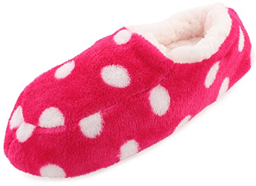 Enimay Women's Casual Cozy Plush Fuzzy Indoor House Slippers No Slip Polka Dot Hot Pink | White Dots Small-medium (25)