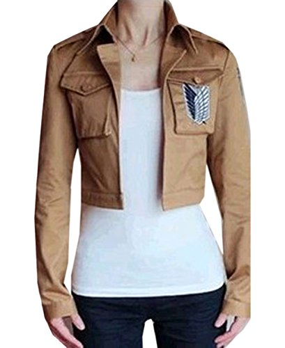 Buy-Box Women's Cos-me Attack on Titan Survey Corps Khaki Jacket Coat