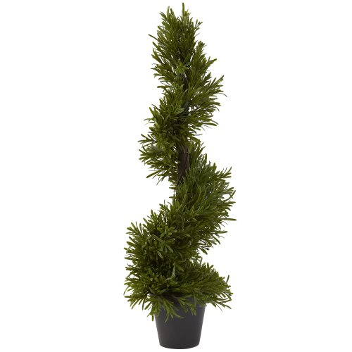 Nearly Natural 5351 Indoor/Outdoor Rosemary Spiral Tree, 30-Inch, Green