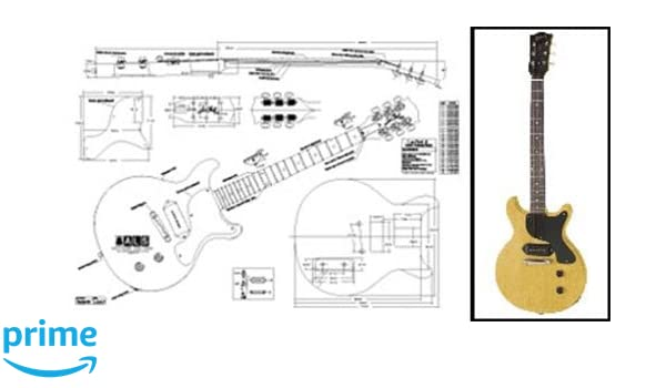 Amazon.com: Plan of Gibson Les Paul Jr. Double-Cutaway Electric Guitar - Full Scale Print: Musical Instruments