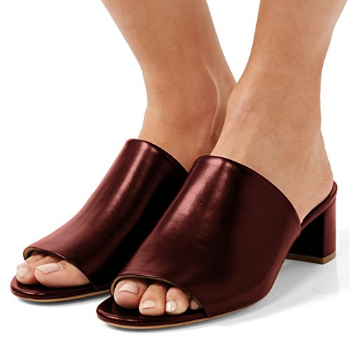 Open FSJ Shoes 15 Wine Size 4 Women Toe Low Daily US Mules Chunky Heels Comfortable Casual Sandals ESBTqrwPSx