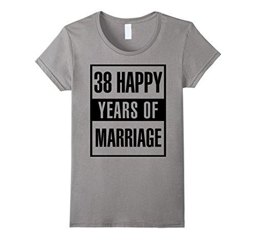 Womens 38th Wedding Anniversary Gift Idea Husband And Wife T-Shirt XL Slate