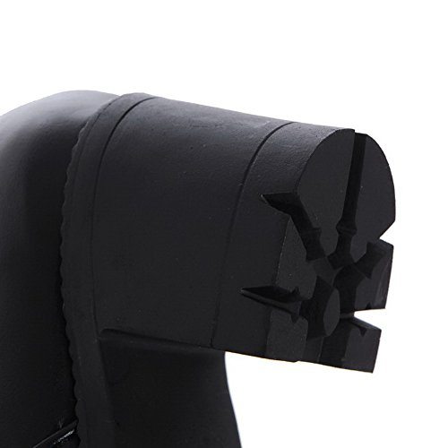 Allhqfashion Dames Ronde Gesloten Neus Hoge Hakken Zacht Materiaal Stevige Hoge Laarzen Zwart